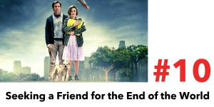 Seeking a Friend for the End of the World is #10 in the Top 10 Post Apocalyptic Movies on Netflix. Pictured, a man, a woman, and a dog stand in a park as a meteor is falling toward the Earth.