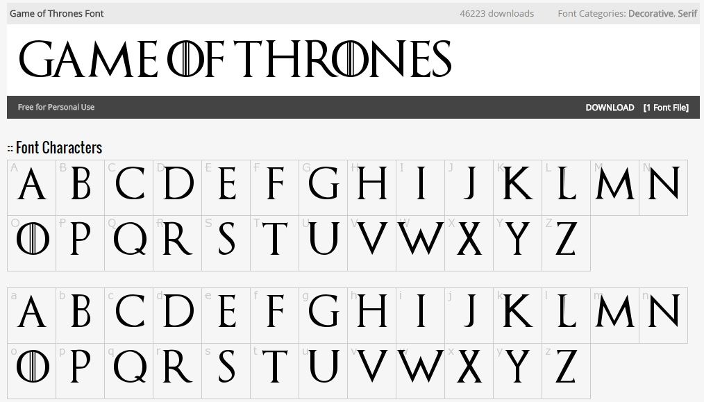 this font looks like the game of thrones show font