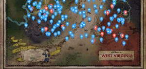 a map of west virginia with important fallout landmarks
