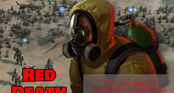 red death post apocalyptic battle royale game with wide shot of game map plus a man in radiation suit