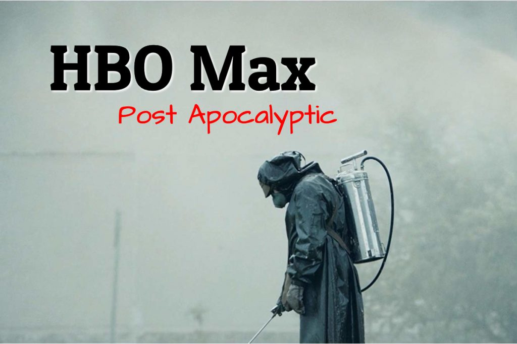 a man stands in hazmat suit with the words HBO post apocalyptic